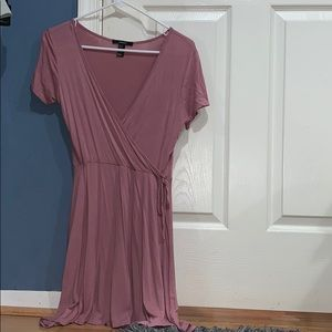 mauve v neck wrap dress